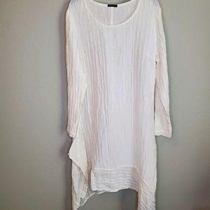Grizas Dress white crinkle asymmetrical linen silk